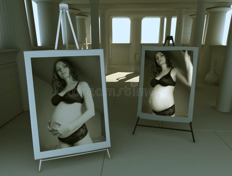 怀孕1散开女孩的光 库存照片