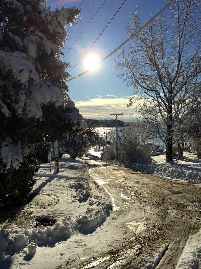 怀有的冬天路 免版税库存图片