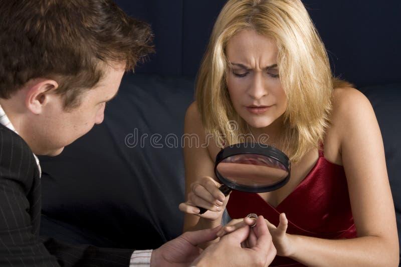 怀疑的未婚夫 免版税库存照片