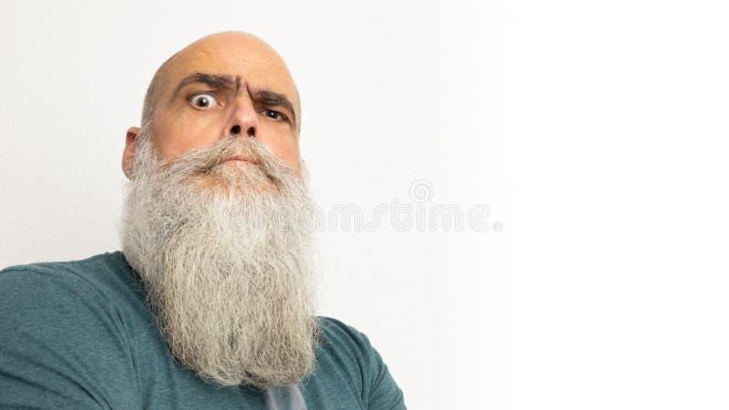 怀疑看起来的有胡子的人 库存照片