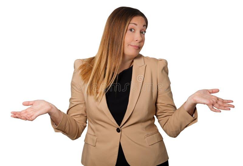 怀疑,疑义美丽的妇女 张开宽的胳膊 在白色 免版税库存图片