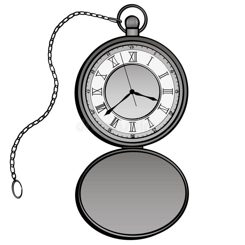 怀表设计传染媒介 分开的时钟 定时器手拉的乱画设计元素 在白色的被隔绝的对象 皇族释放例证