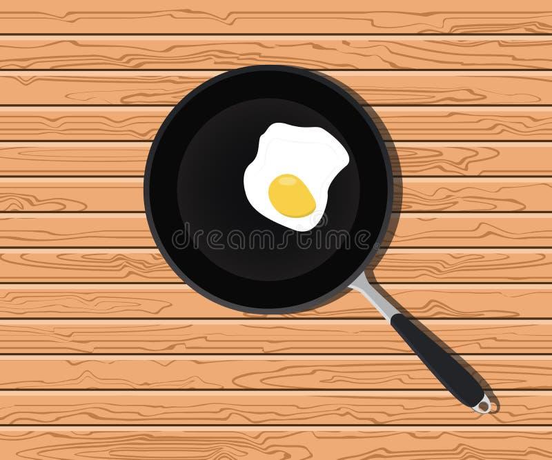 怂恿晴朗在炸锅有木桌背景 向量例证