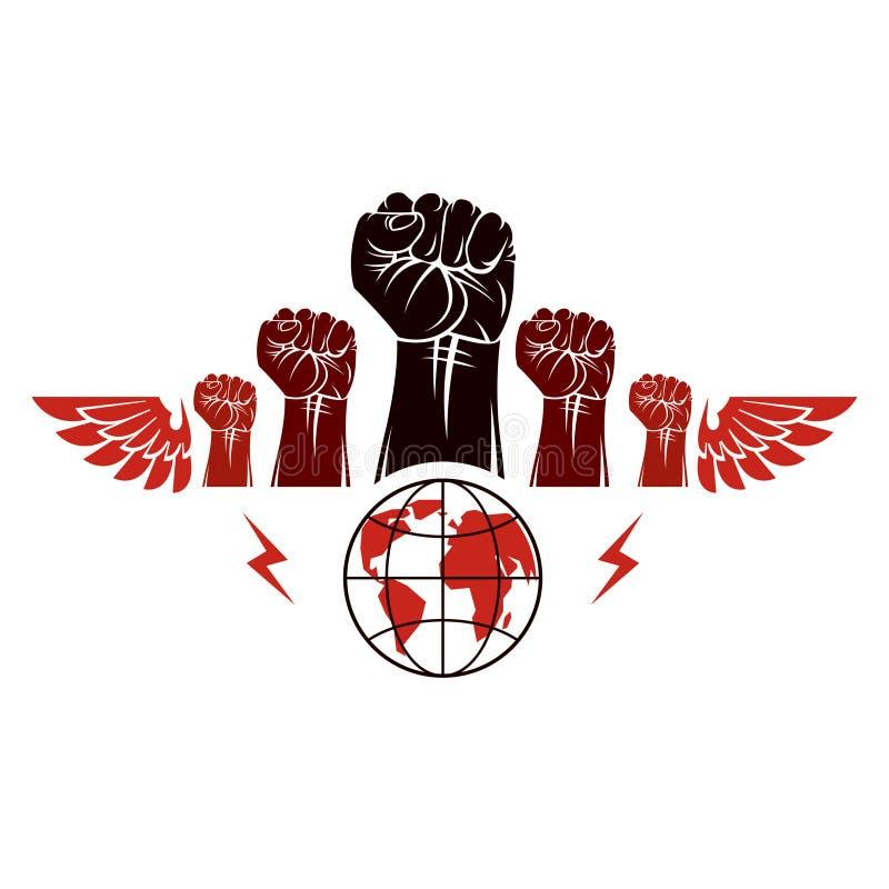 怒人握紧拳头,飞翼地球象征矢志 内战摘要插图 社会 向量例证