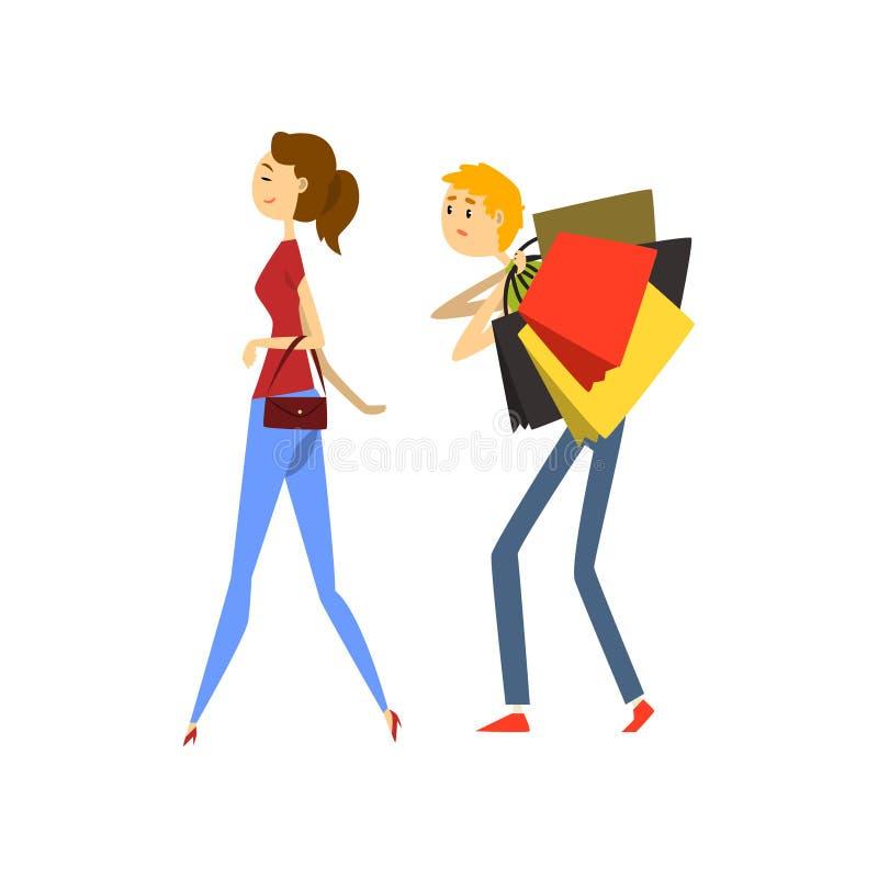 怕老婆人,人用购物袋装载了在他的妻子动画片传染媒介例证后在白色背景 库存例证