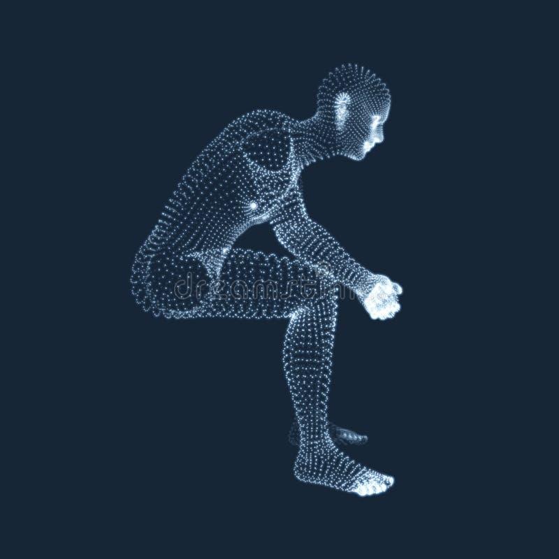 思想家姿势的人 3D人模型  企业、科学、心理学或者哲学传染媒介例证 皇族释放例证