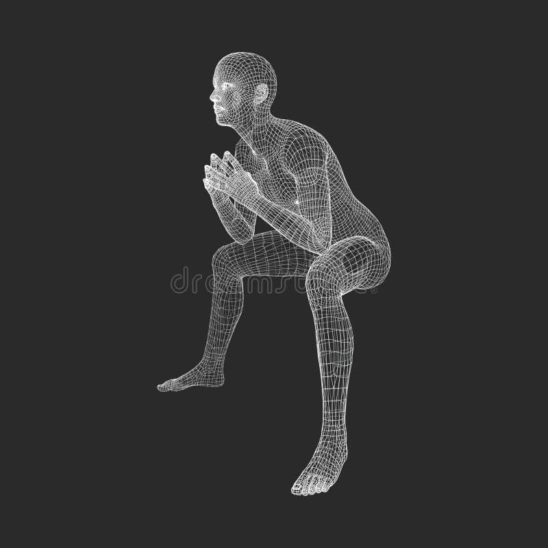 思想家姿势的人 3D人模型  库存例证