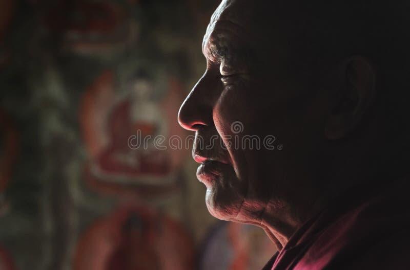 思考与闭合的眼睛的Ladakhi喇嘛 免版税库存照片