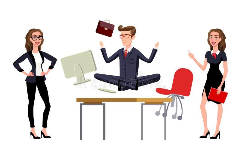 思考在工作书桌的被用尽的雇员在办公室 在工作场所的放松 皇族释放例证