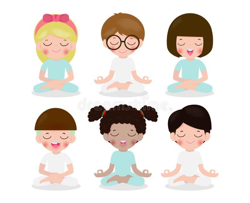 思考在莲花姿势的孩子的收藏 逗人喜爱的动画片儿童瑜伽和凝思在平的样式被隔绝的传染媒介例证 向量例证