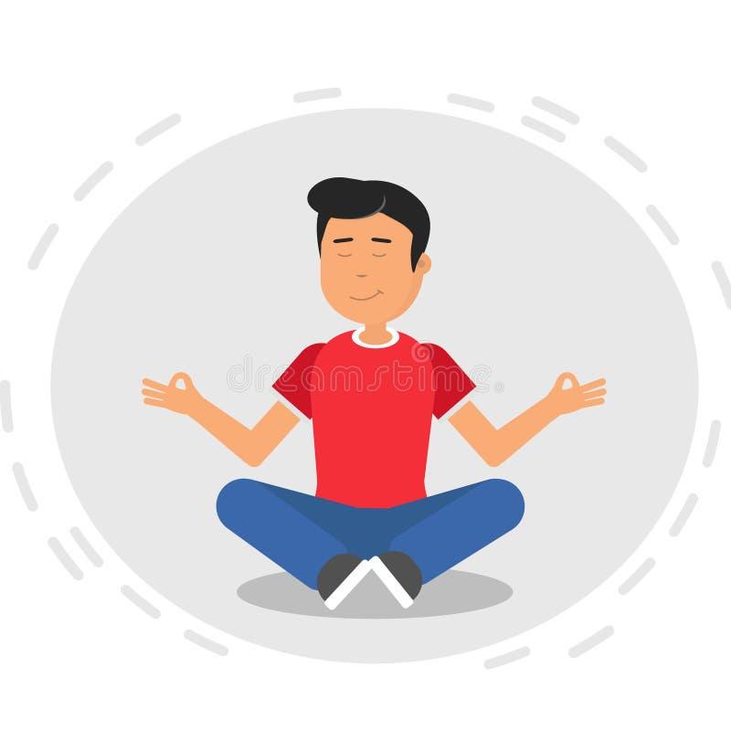 思考在莲花瑜伽位置的人 人在莲花姿势坐被隔绝的灰色背景 平的例证 向量例证