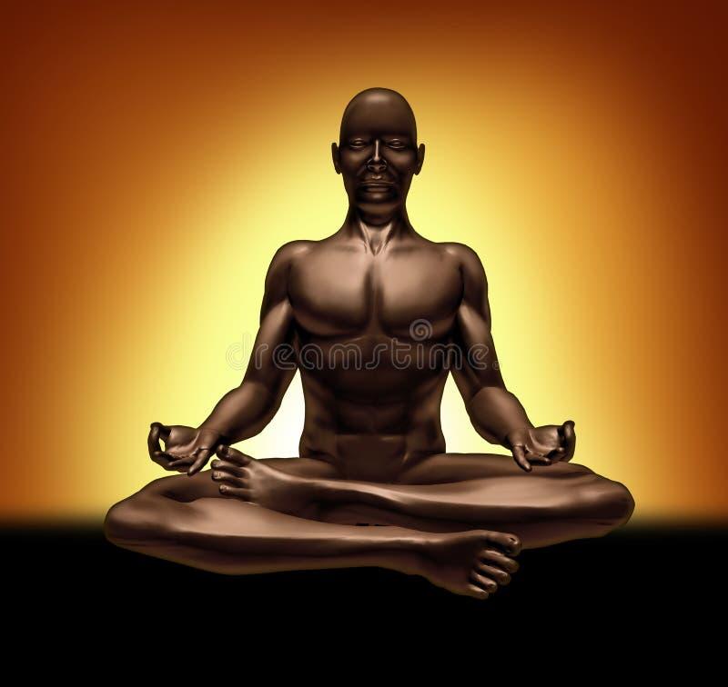 思考的凝思放松灵性瑜伽 皇族释放例证