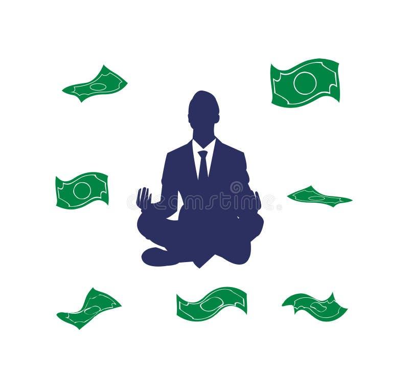 思考的商人,当金钱在他附近时漂浮 向量例证