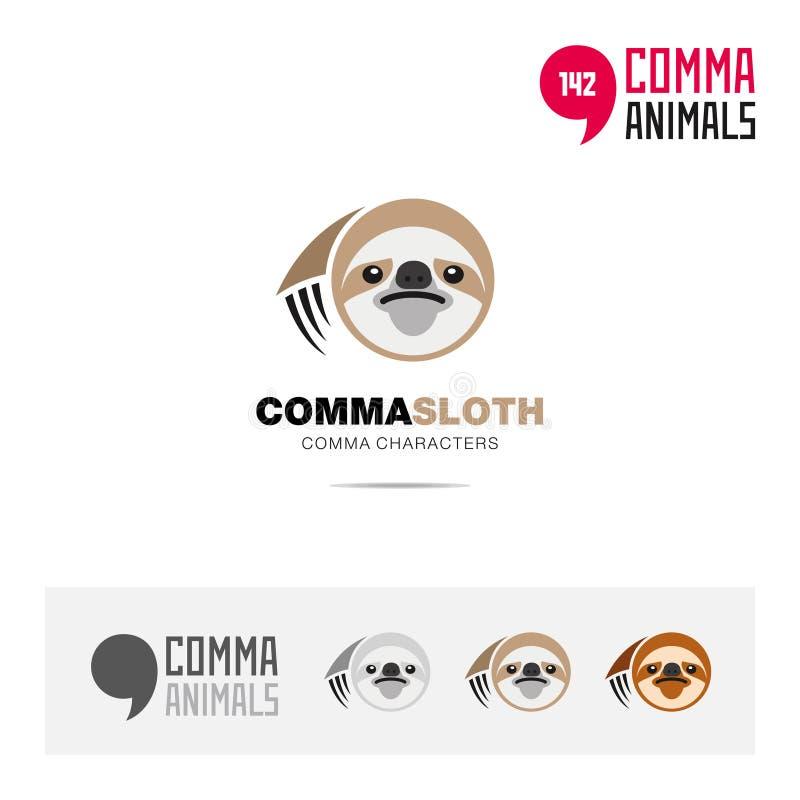 怠惰动物概念象集合和现代品牌身份商标模板和根据逗号的app标志签字 库存例证