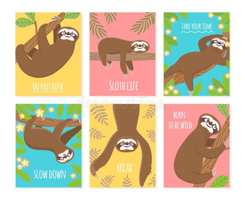 怠惰卡片 逗人喜爱的微睡动物,困懒惰怠惰 儿童T恤杉,睡衣设计 库存例证