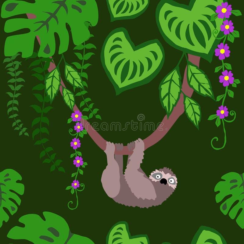 怠惰和热带植物无缝的样式,异乎寻常的鸟雨林热带叶子重复的样式Backround 向量例证