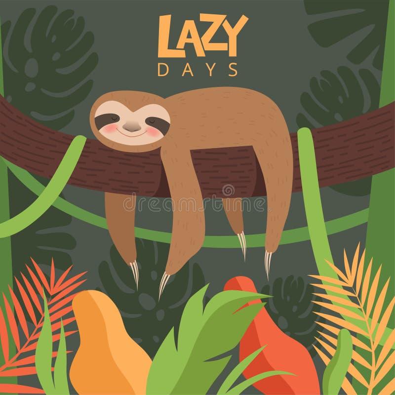 怠惰垂悬的分支 海报与一点困婴孩逗人喜爱的动物传染媒介动画片图片的设计模板 库存例证