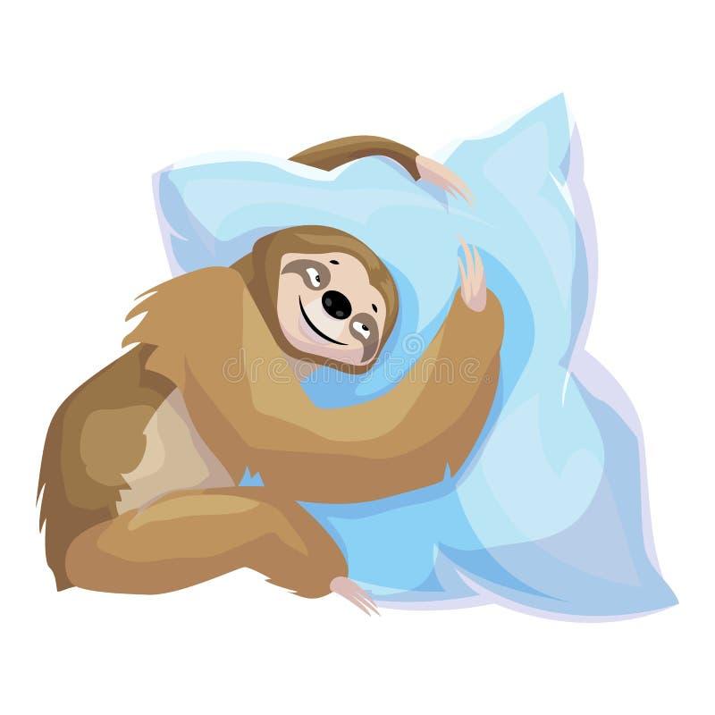 怠惰容忍枕头象,动画片样式 皇族释放例证