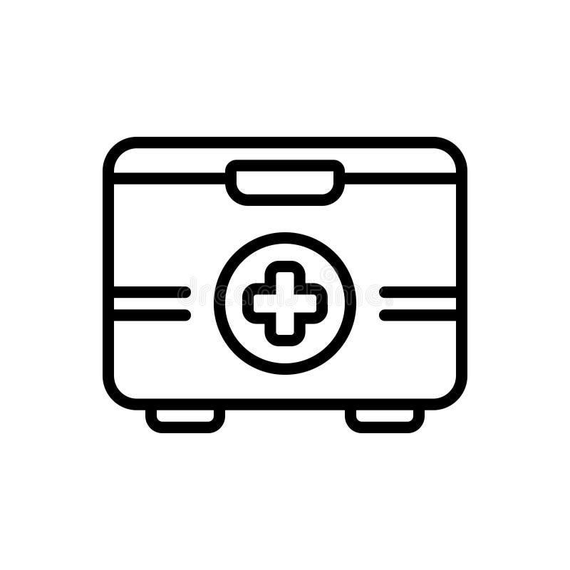 急救工具、成套工具箱子和药房的黑线象 皇族释放例证
