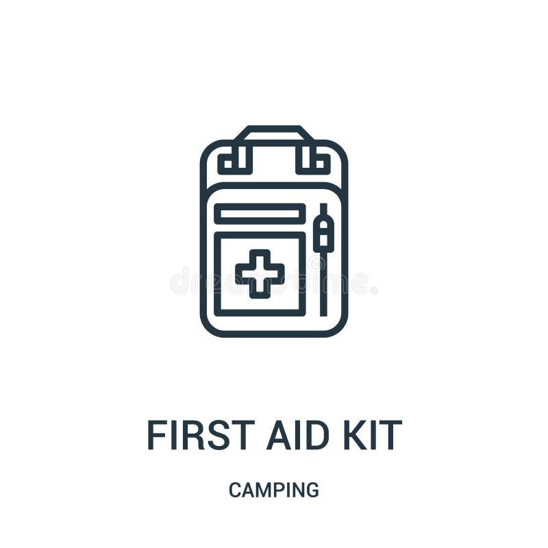 急救工具从野营的收藏的象传染媒介 稀薄的线急救工具概述象传染媒介例证 线性标志 向量例证