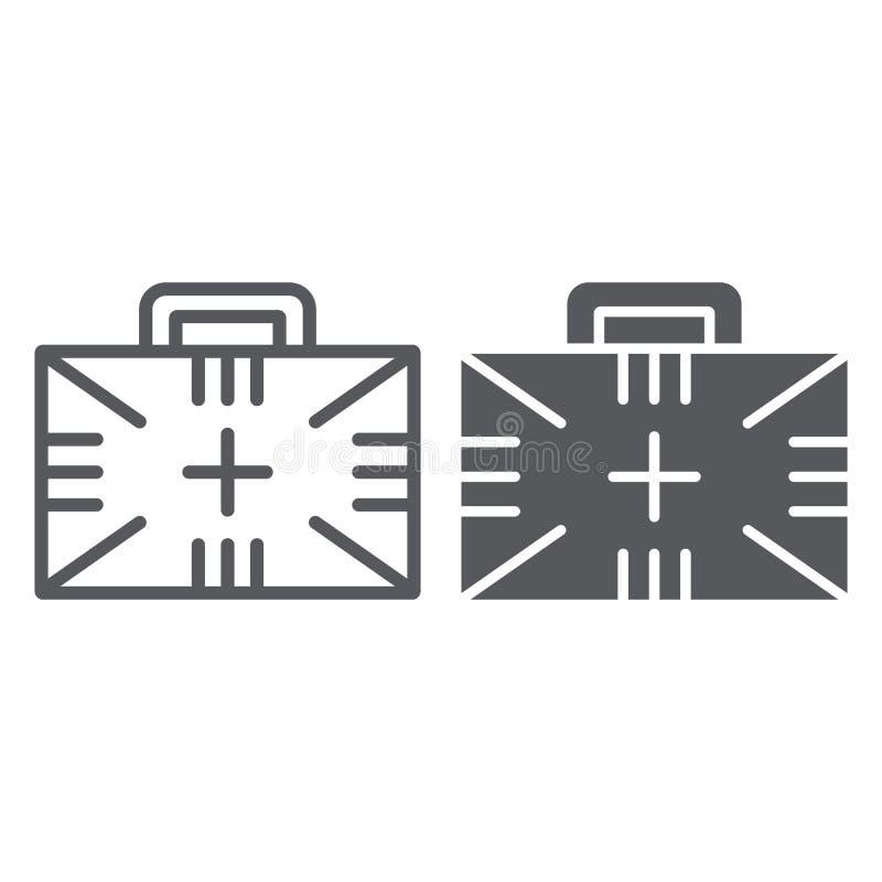 急救工具和纵的沟纹线象,箱子和紧急状态,医疗案件标志,向量图形,在白色的一个线性样式 向量例证