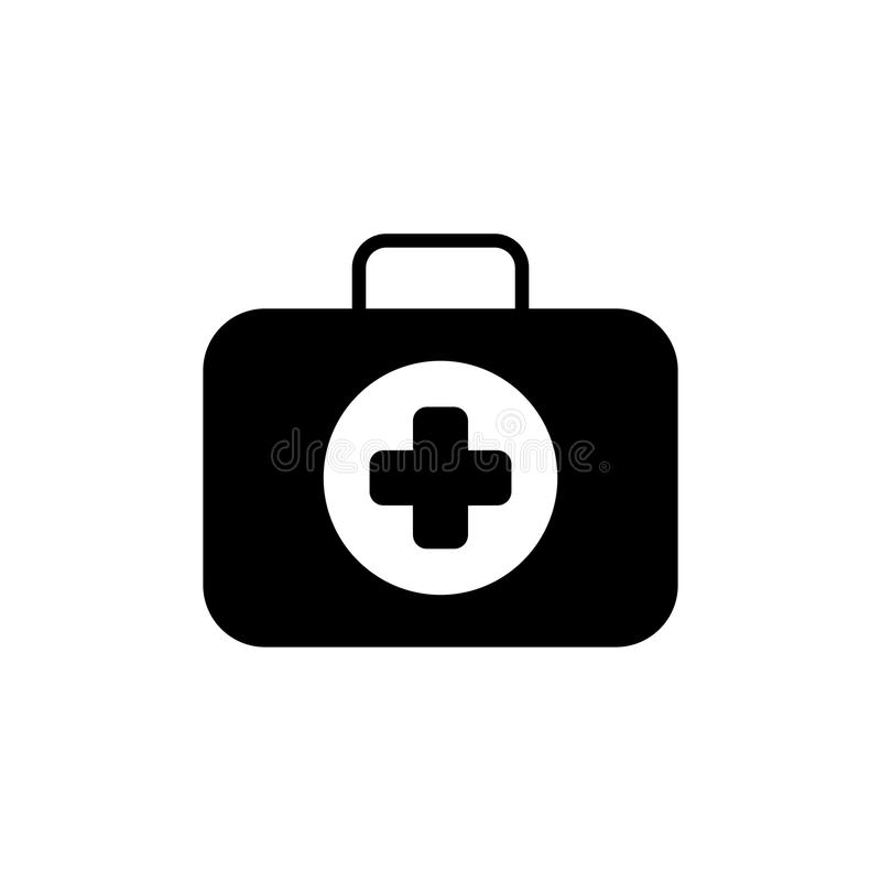 急救工具标志和医疗服务象 平的设计 查出 向量例证