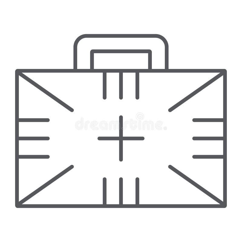 急救工具稀薄的线象,箱子和紧急状态,医疗案件标志,向量图形,在白色的一个线性样式 库存例证
