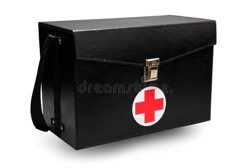 急救工具箱子在白色背景或被隔绝的背景中,急诊病例为支持医疗服务使用了援助箱子 图库摄影