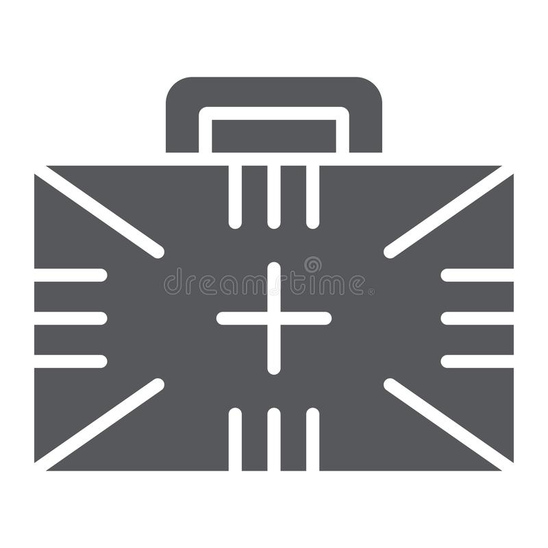 急救工具纵的沟纹象、箱子和紧急状态,医疗案件标志,向量图形,在白色背景的一个坚实样式 库存例证