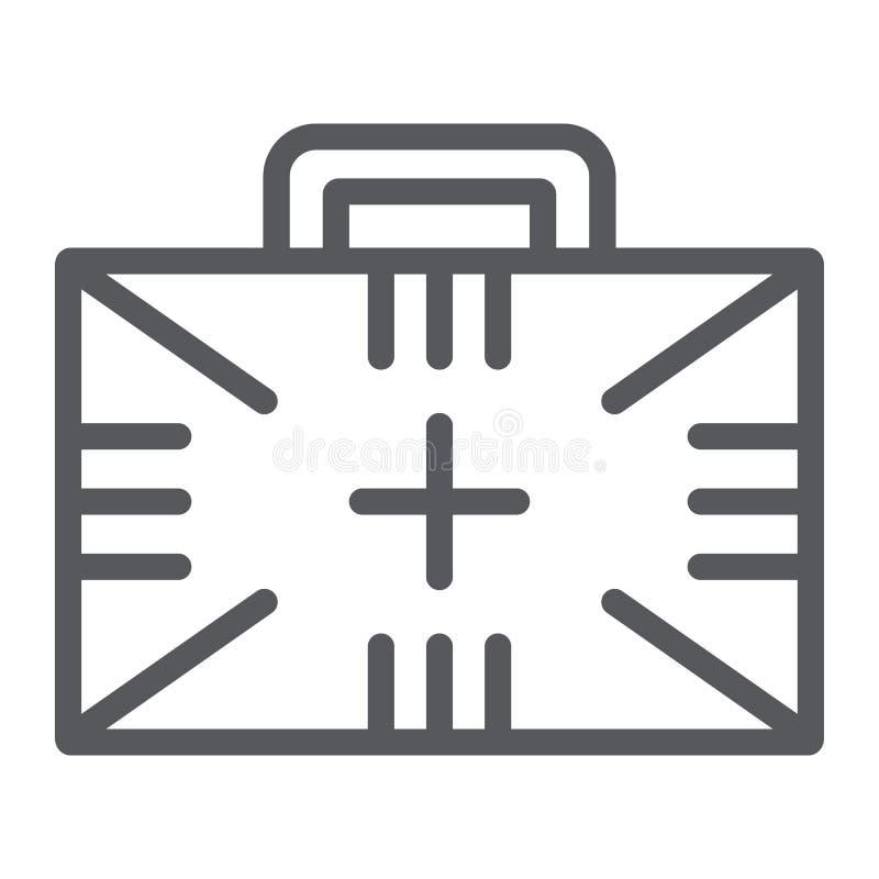急救工具线象,箱子和紧急状态,医疗案件标志,向量图形,在白色背景的一个线性样式 皇族释放例证