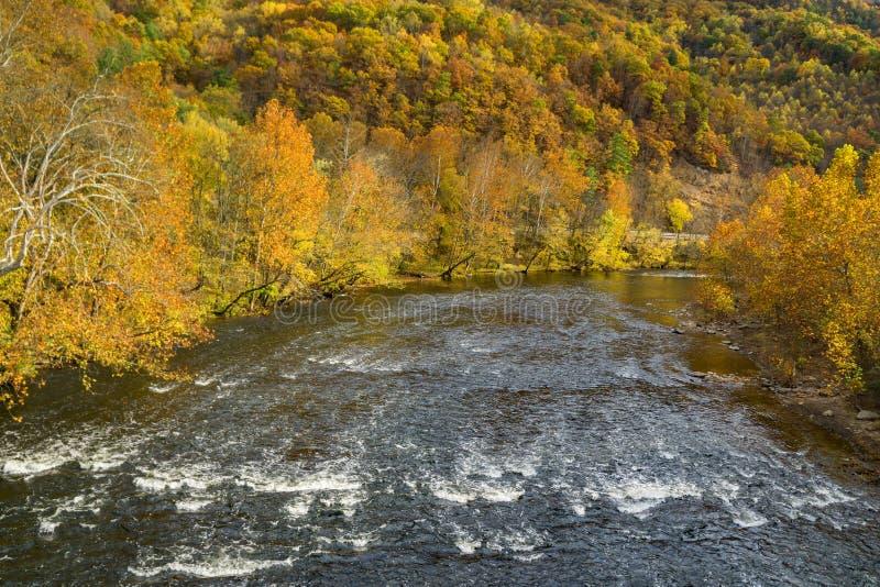 急流的秋天视图在詹姆斯河,弗吉尼亚,美国的 图库摄影