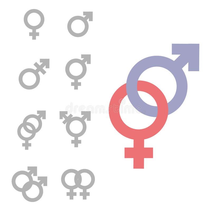 性别不平等和平等象标志 男女女孩男孩妇女人象 火星和金星标志例证.