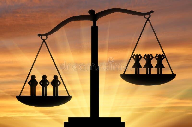 性别不平等的概念 向量例证