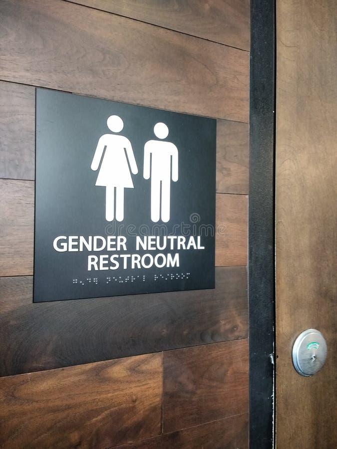 性别中立休息室标志 库存照片