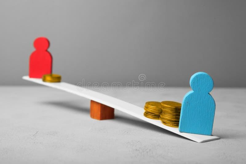 性别和性别薪水差距 性别不平等 库存图片