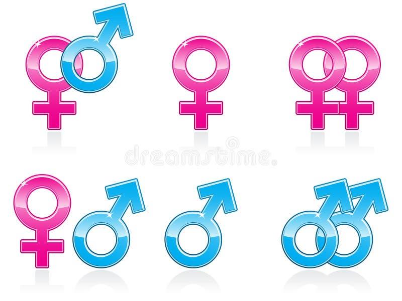 性别图标符号 皇族释放例证