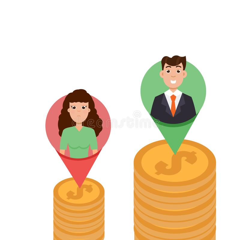 性别差距、企业区别和歧视,人对妇女,不平等概念 库存例证
