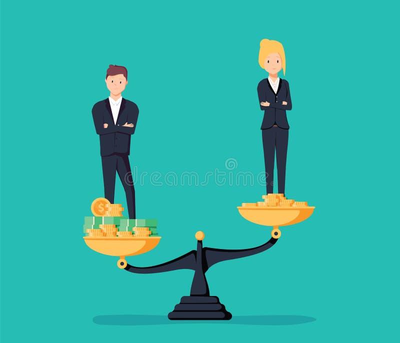 性别差距和不平等在薪金,薪水传染媒介概念 Busines 向量例证