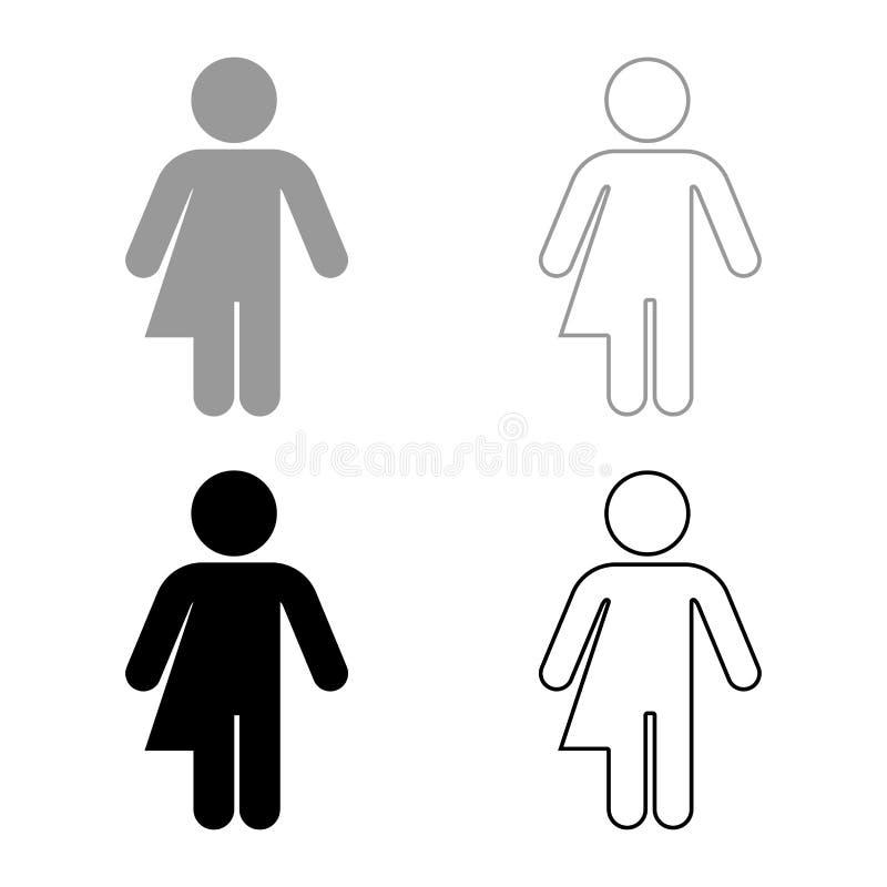性别忠诚异性装扮癖概念同性恋象集合灰色黑色例证概述平的样式的标志概念简单 库存例证