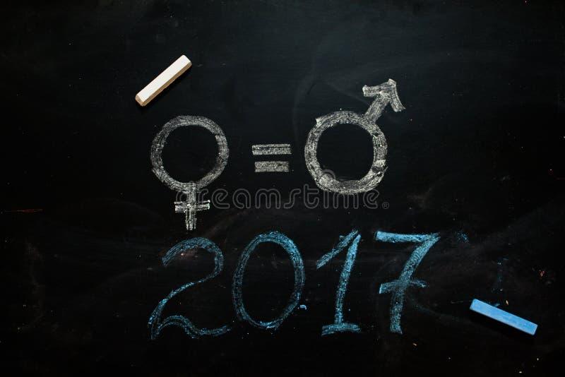 性别标志或标志在黑板和女性的画的男性 库存例证