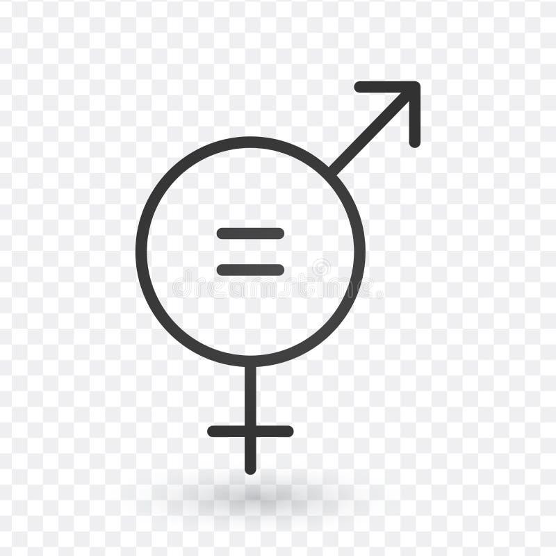 性别等号象 在线性设计的男人和妇女相等的概念象 编辑可能的冲程 库存例证