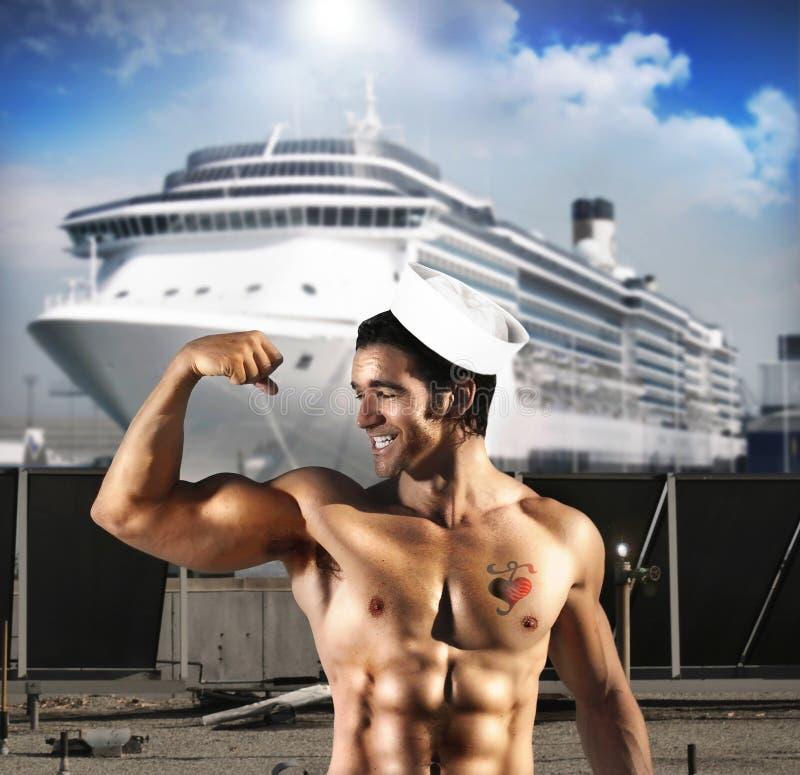 性感人的水手 免版税图库摄影