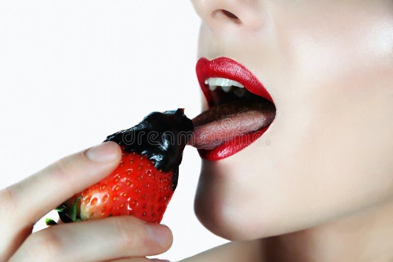 性感和可口草莓 免版税库存照片