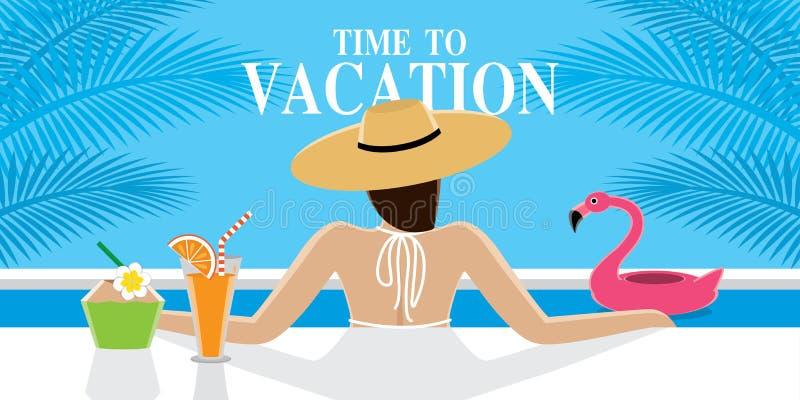 性感女孩在度假暑假 向量例证