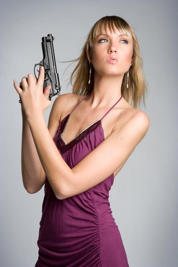 性感女孩的枪 库存照片