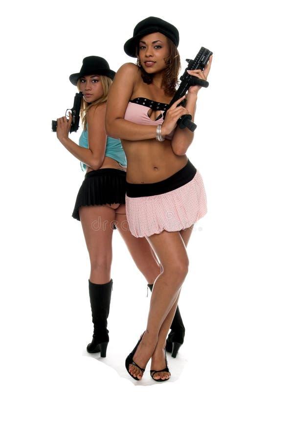 性感女孩的枪 免版税库存照片