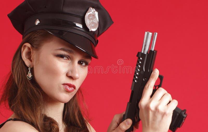 性感女性官员的警察 免版税库存图片