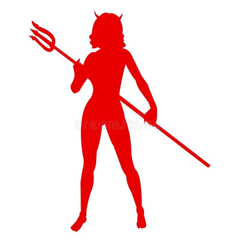 性感她与垫铁和三叉戟的恶魔剪影 皇族释放例证