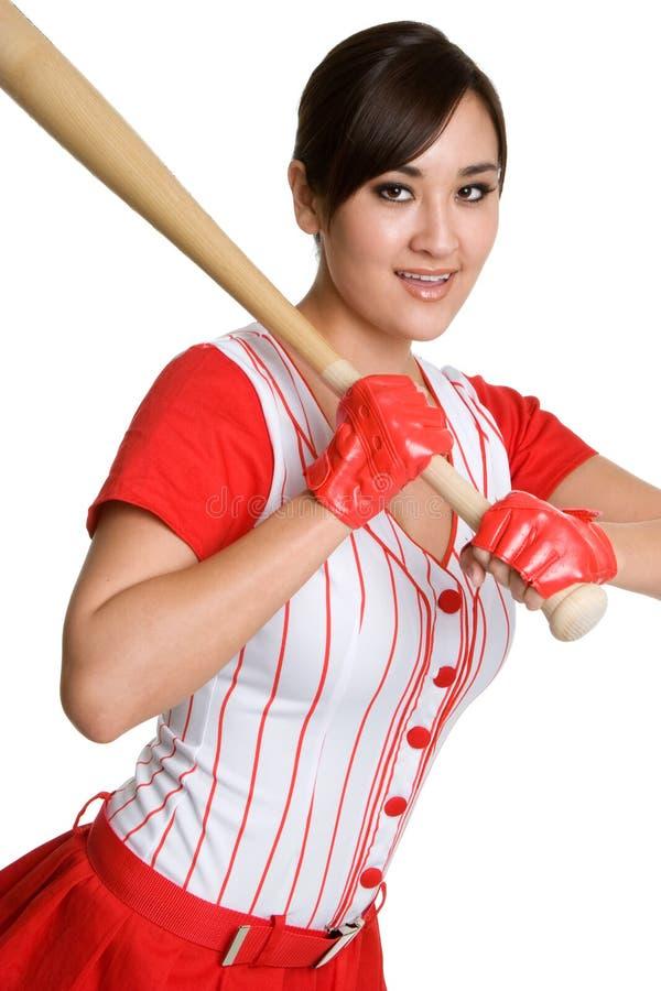 性感棒球的女孩 免版税库存照片