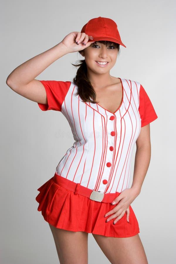 性感棒球的女孩 库存图片